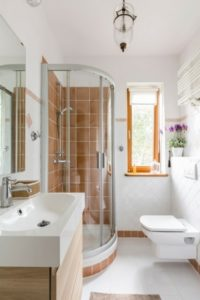 bathroom with an orange shower