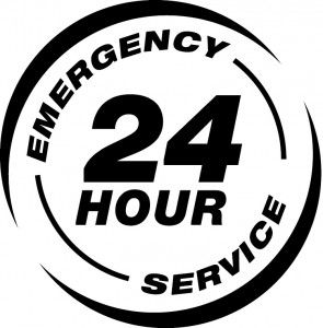 "Graphis that says ""24 hour emergency service"""