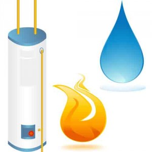 Graphic of a water heater with a water droplet and a little fire