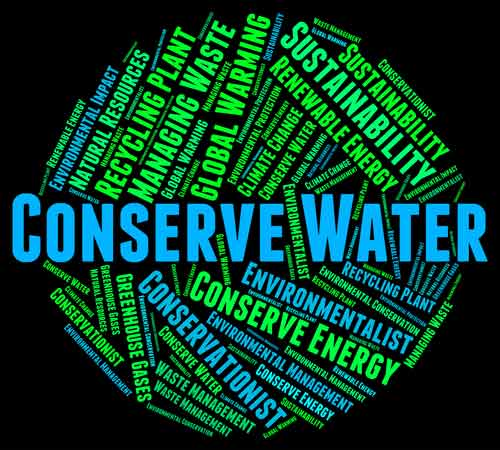 "Graphic with many words related to conservation, with the words ""conserve water"" written in large font across the center"