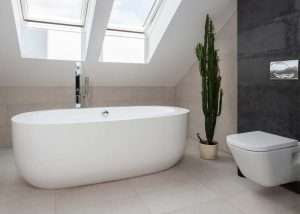 Modern bathroom with large free standing tub